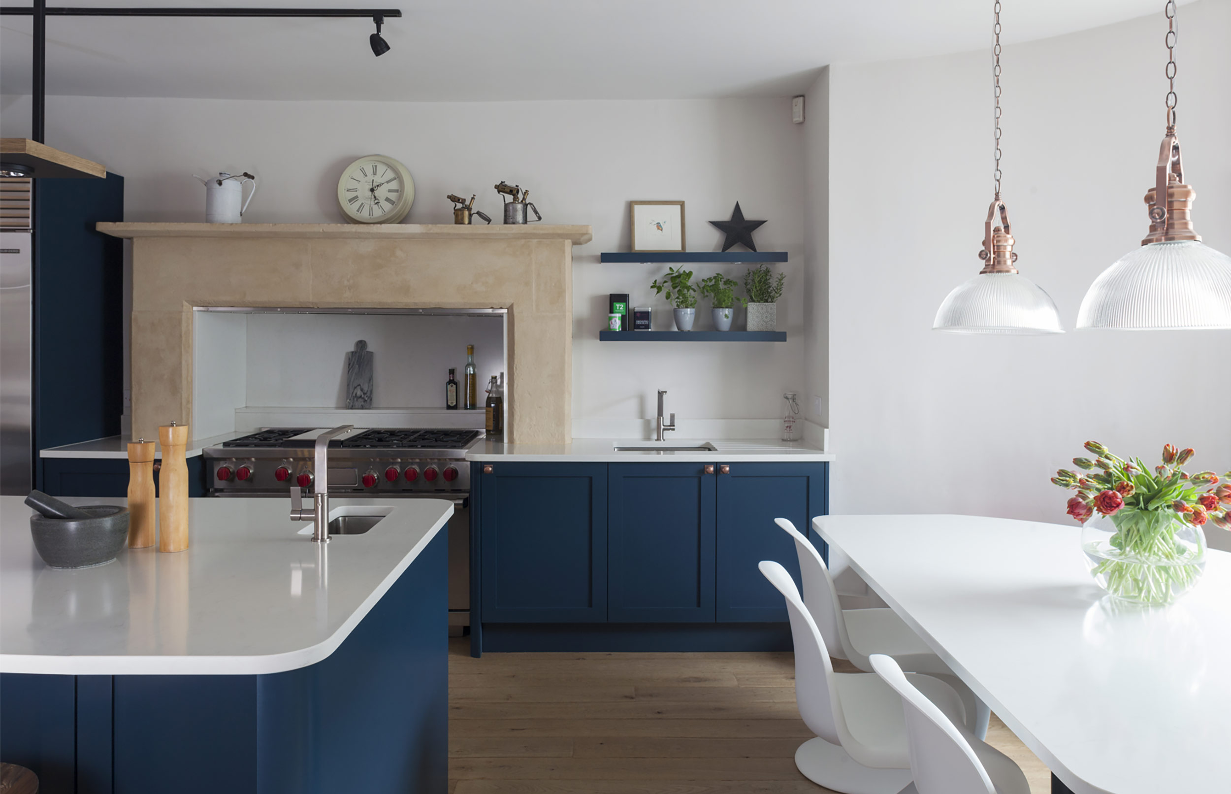 Iconic Bespoke Kitchen Exquisite Detail with Blue Cupboards and White Tops