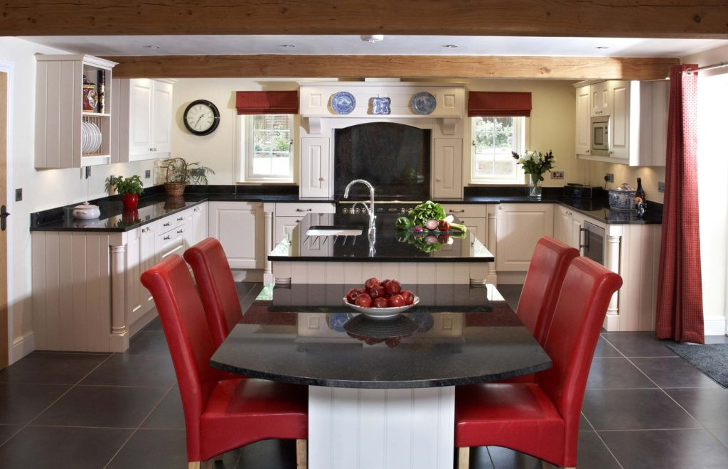 Stylish Bespoke Kitchen - with Red Leather Dining Chairs and Island