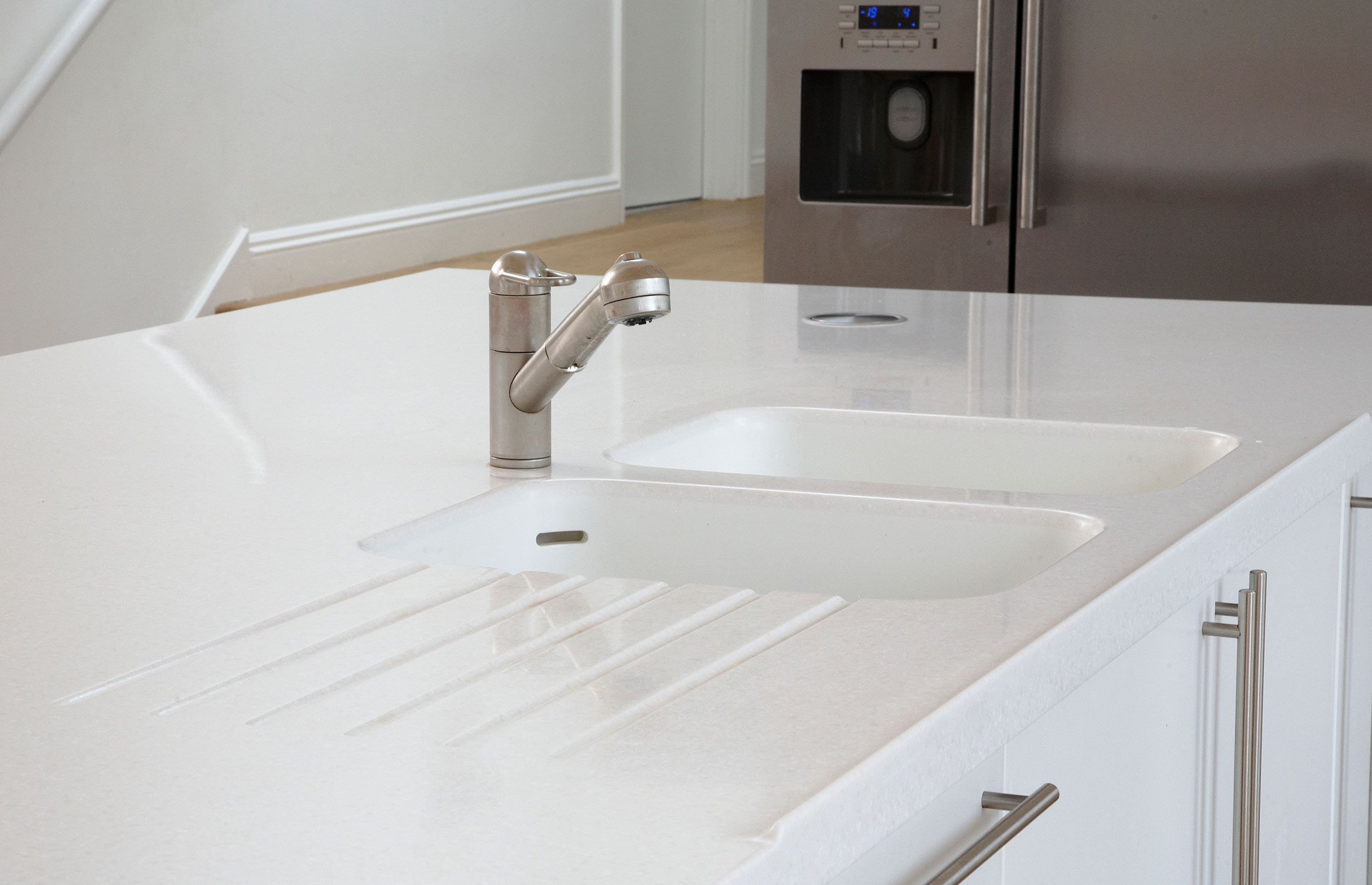 Contemporary Bespoke Kitchen Island with Tap, Sink and Preparation Area