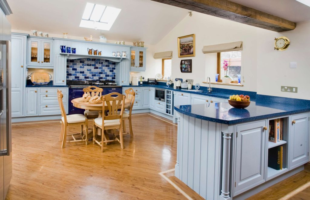 Barn Conversion with Bespoke Pale Blue Kitchen Cupobards