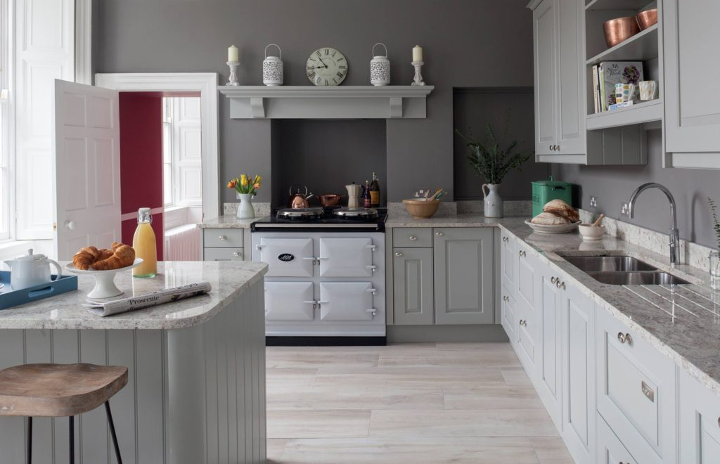 Sophistcicated Bespoke Kitchen - View of Island, Sink, Counter and Cooker