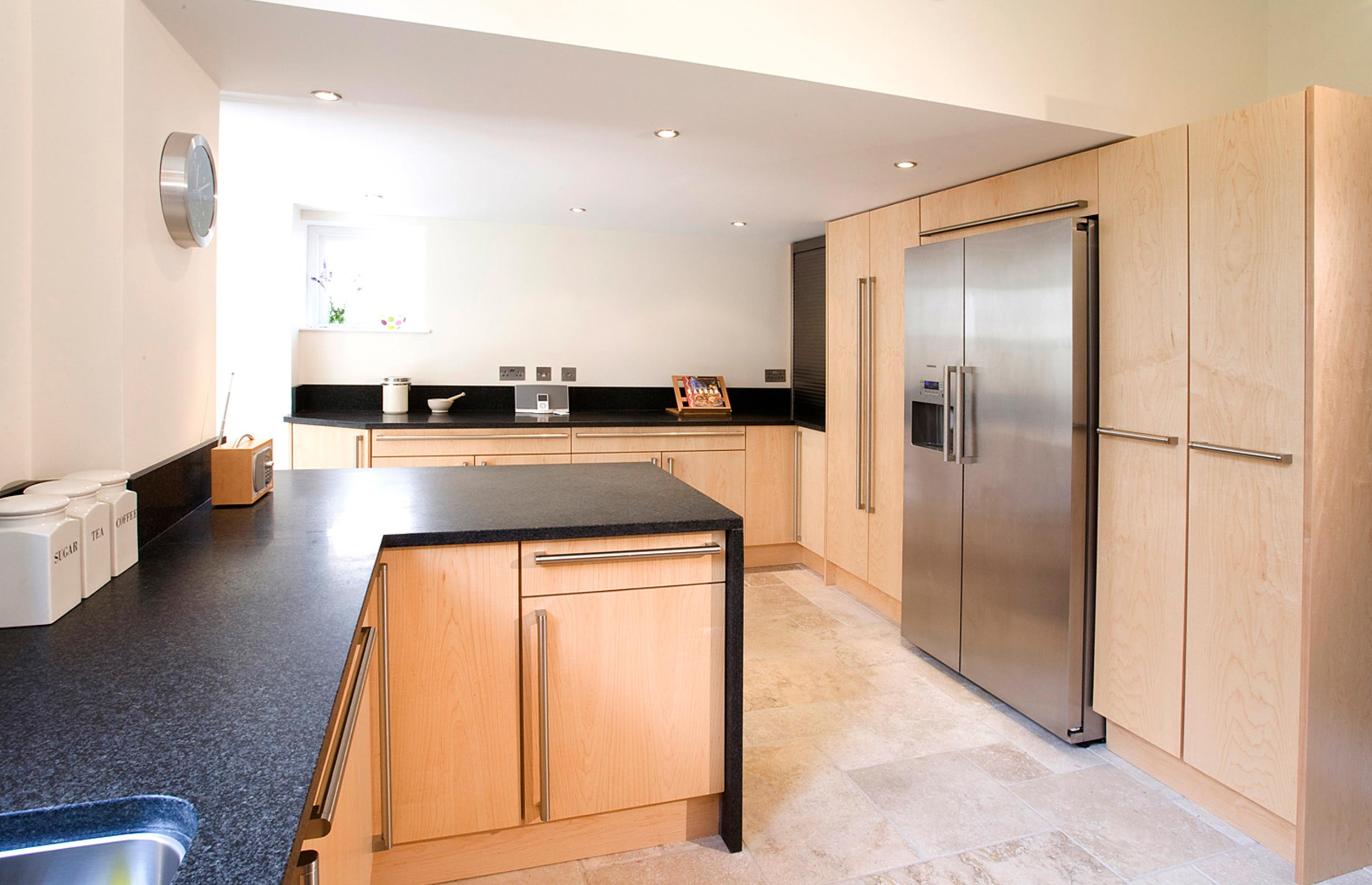 Contemporary City Bespoke Kitchen view with American Refridgerator