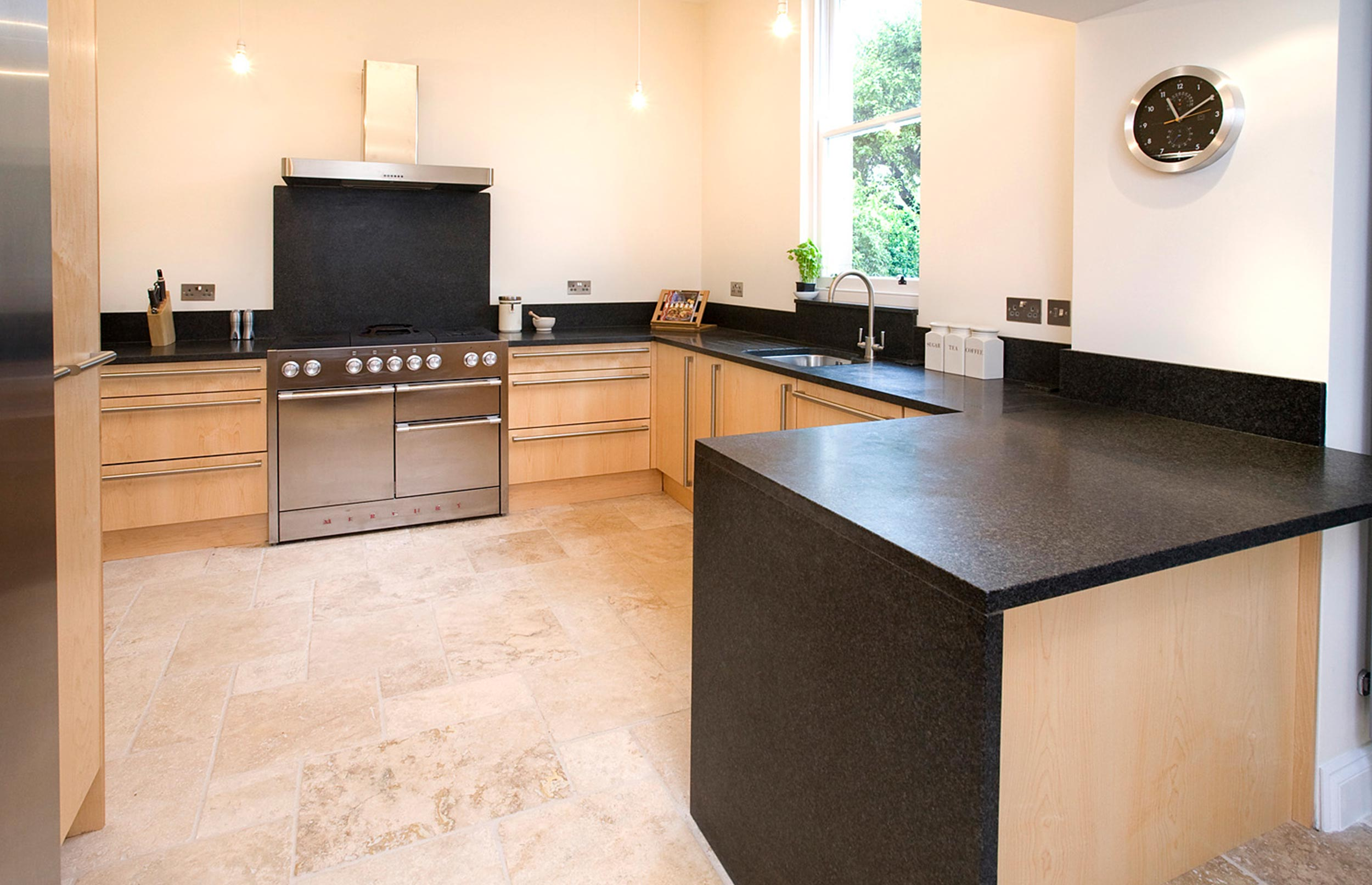Contemporary City Bespoke Kitchen with Stone Floor