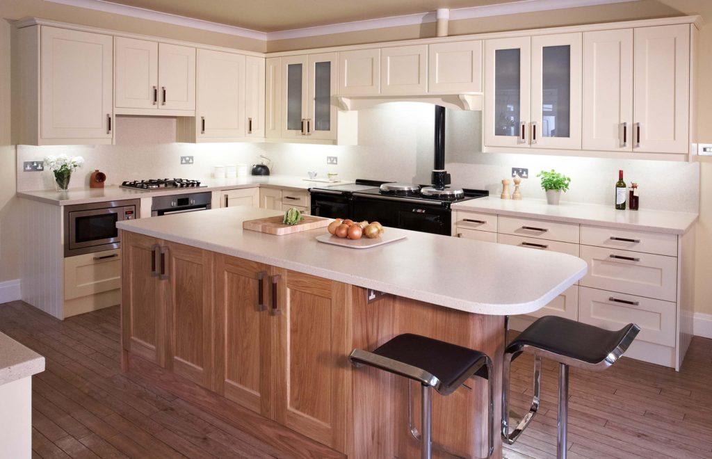 Stately Grace Bespoke Kitchen with Island and Stools