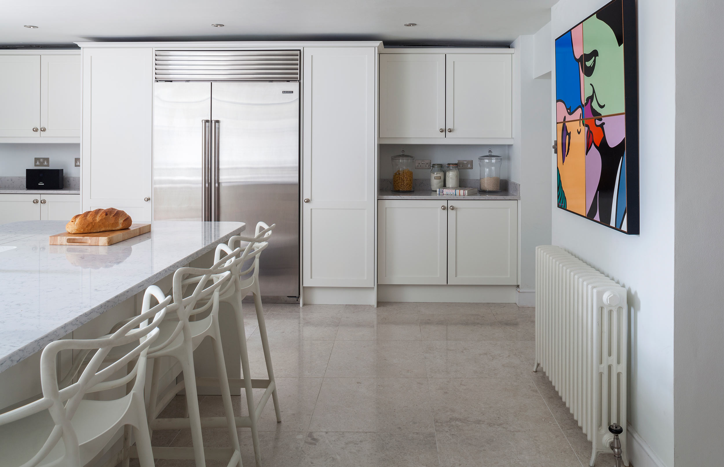 Signature Bespoke Kitchen with Stunning Floor and American Sized Fridge