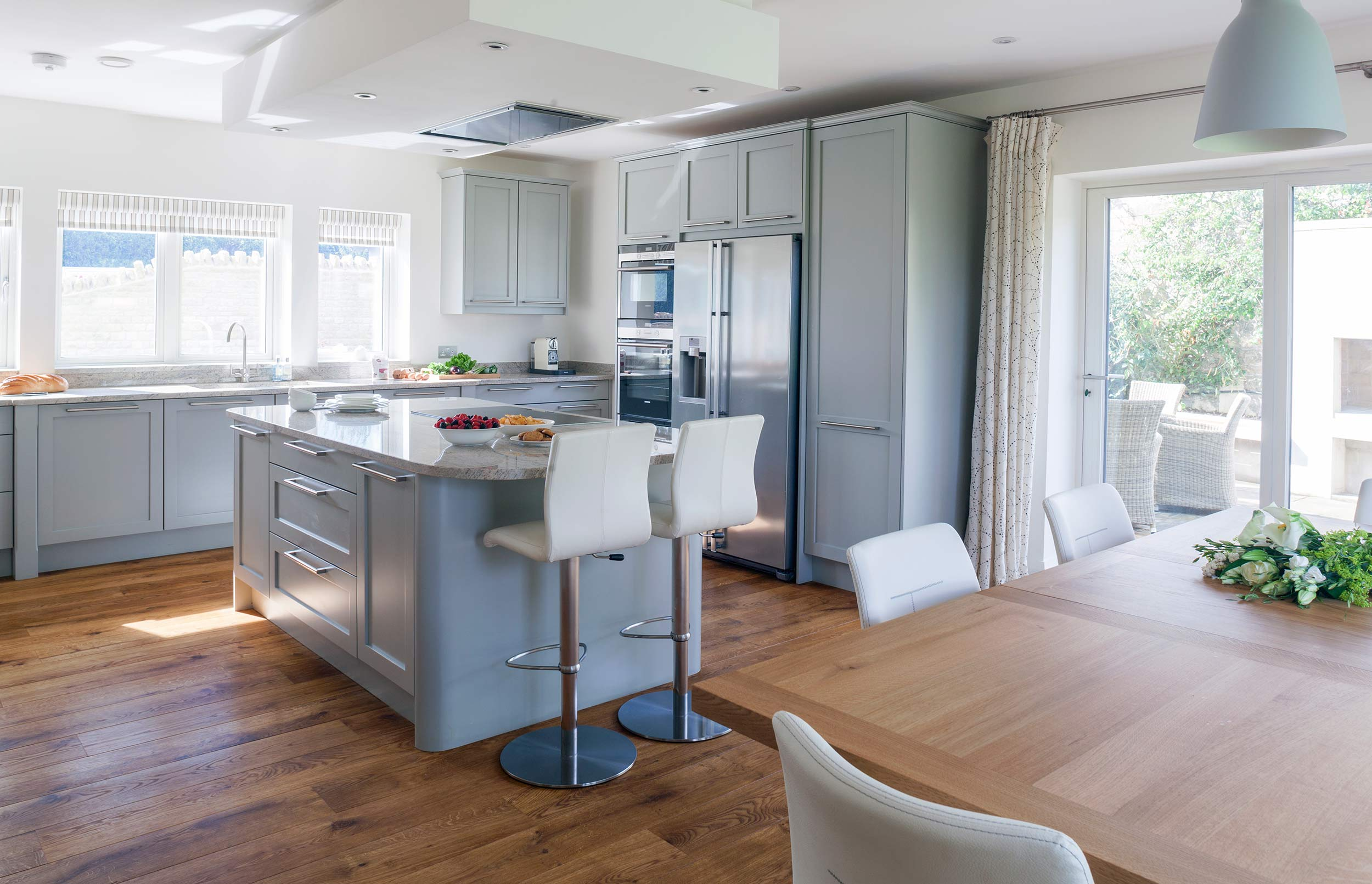 Elegant bespoke kitchen with oak Flooring & Island