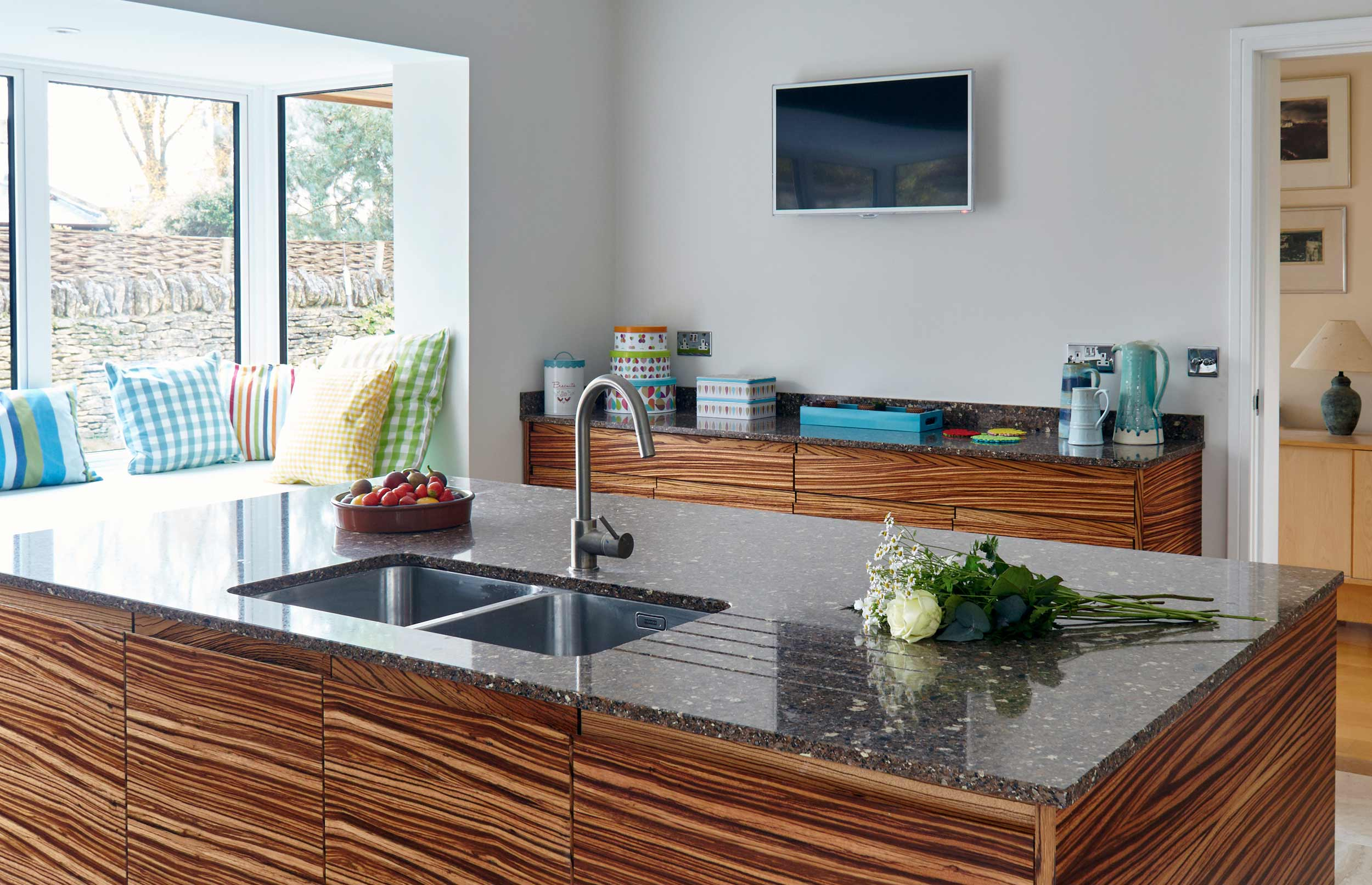 Conversion Bespoke Kitchen - View of Island with Sink and Preparation Area