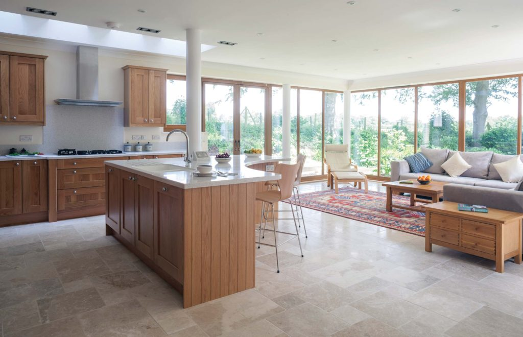 Extension Bespoke Kitchen with View of Island and Patio Doors and Windows
