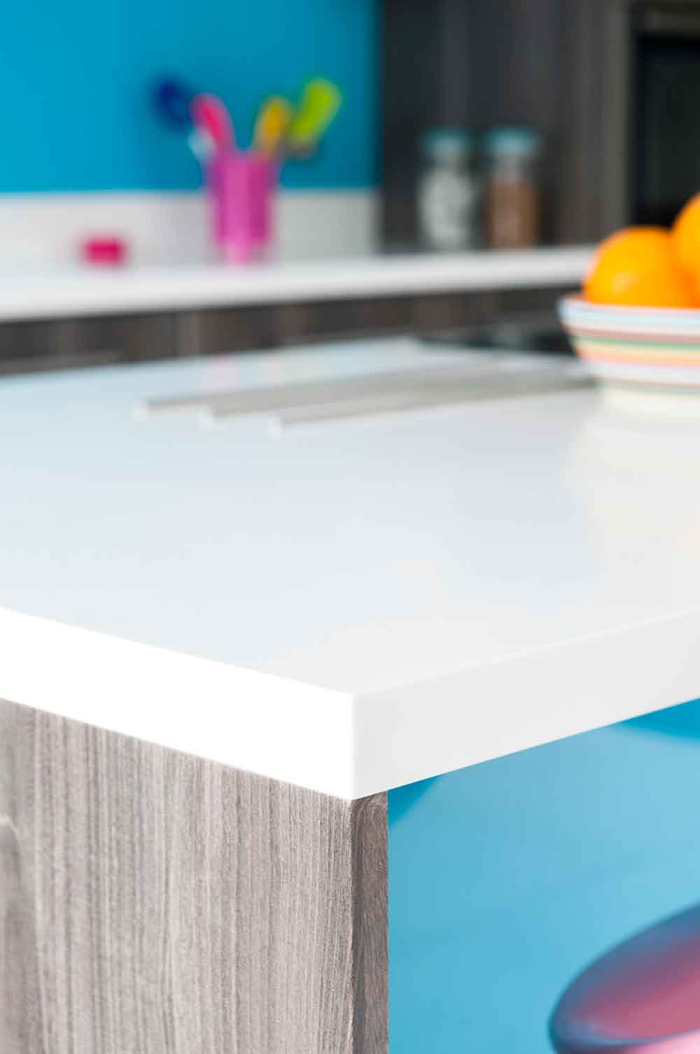 Bespoke funky kitchen closeup of island surface