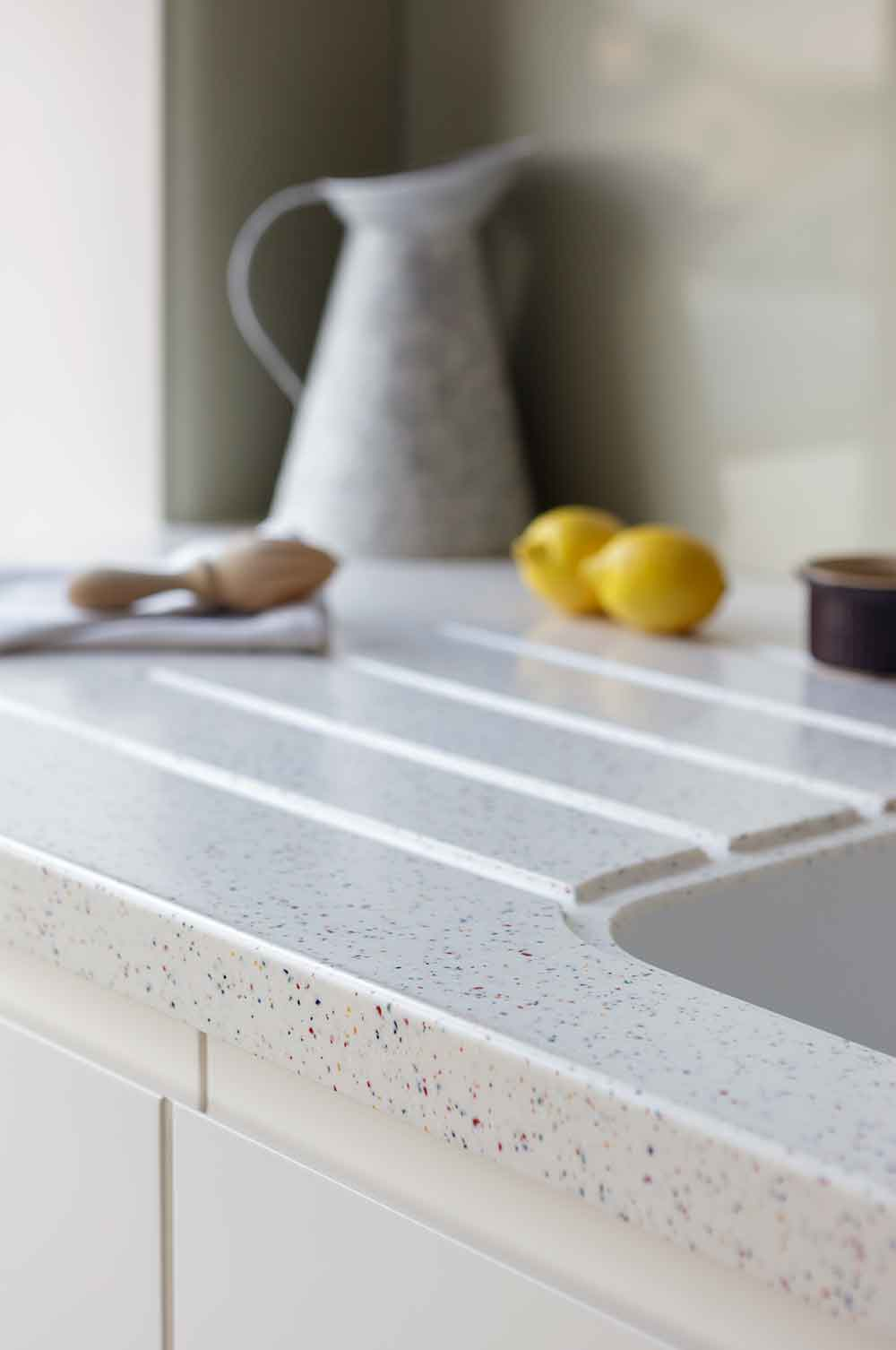 Close up of modern kitchen surface edge